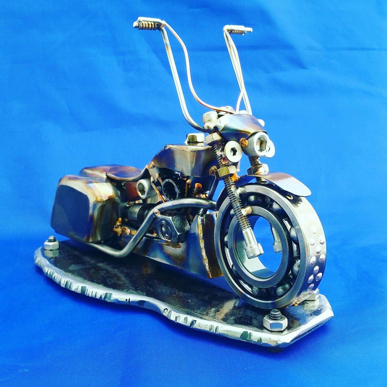 Harley Davidson Road King Bagger Metal Art Sculpture One Of A Kind