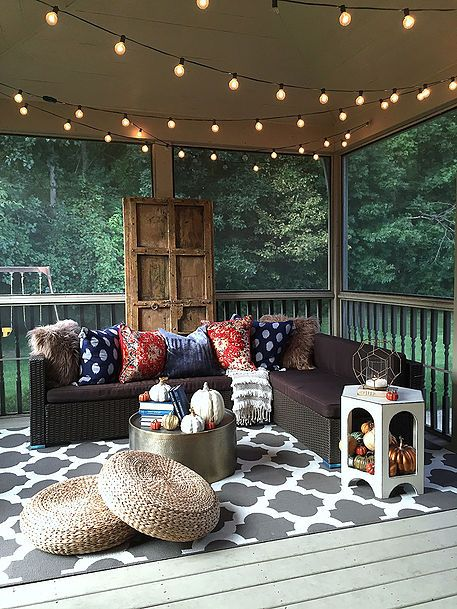 Autumn on the back porch porch autumn and doors for Front porch lighting ideas