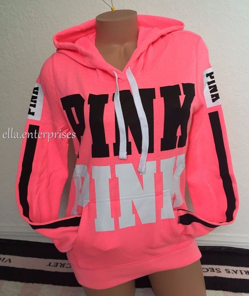 Victoria's Secret Pink Bright Neon Pink Black White Logo Pullover ...
