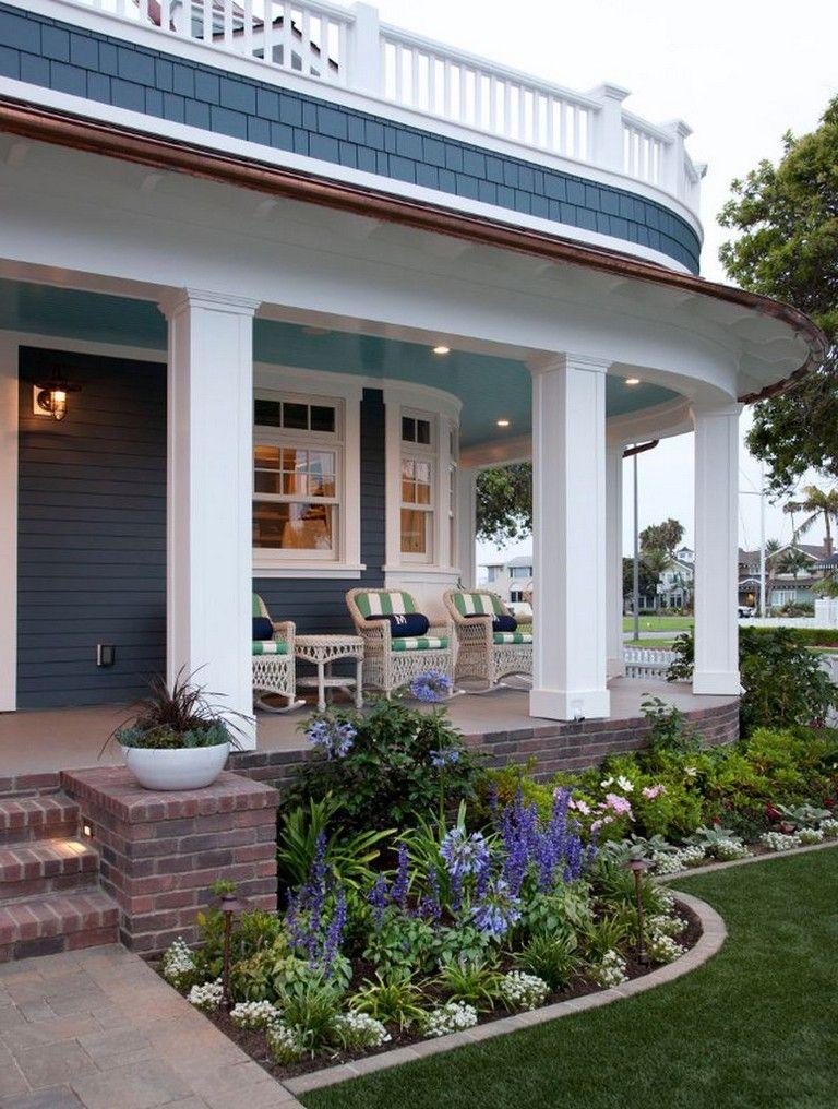 45 Inspiring Second Floor Deck Design Ideas Front Porch Design Porch Landscaping Front Porch Flowers