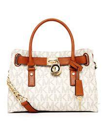 a47c0c35153d98 MICHAEL Michael Kors Hamilton MK Logo Satchel, Vanilla/ $278 | WHITE ...