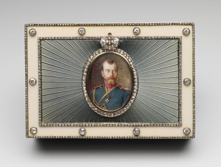 Presentation box with portrait of tsar Nicholas II, 1916. Given to King George V by Queen Mary on his birthday, 1934