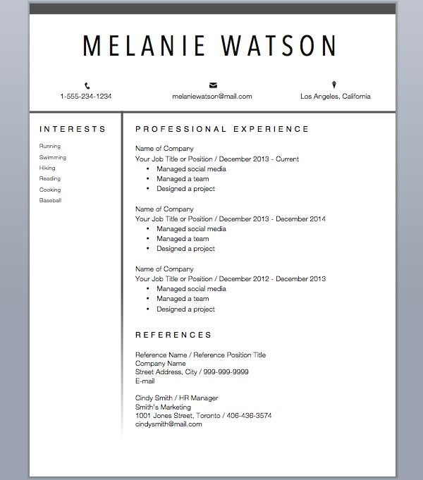 Modern Professional Resume  Cover Letter Template  Resume