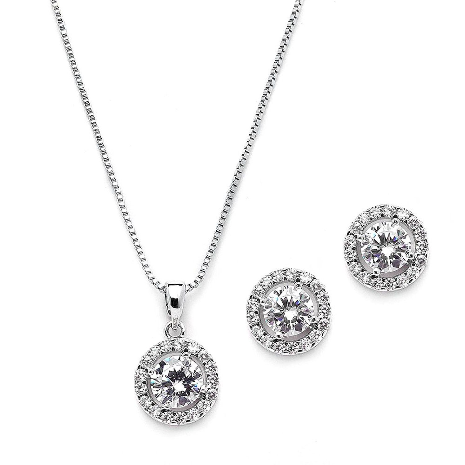 af2ddd3c3 Jewelry Sets, Ultra Dainty 10.5mm Cubic Zirconia Round Halo Necklace and  Stud Earrings Set Plated in Platinum - CC12JGUEZ1V #JewelrySets  #designerjewelry ...