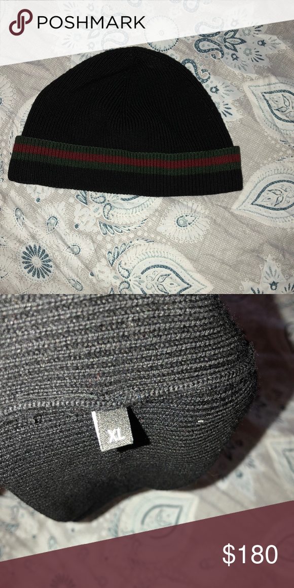Gucci beanie hat Authentic Gucci beanie hat size XL. Excellent condition no  box included. Black w  green and red stripe. Gucci Accessories Hats 1d88f625dce