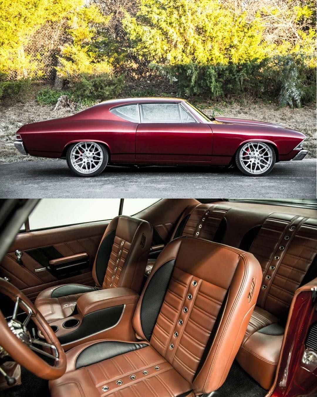68 Chevelle Becausess Burgundy Mesh Wheels Brown Peanut Butter
