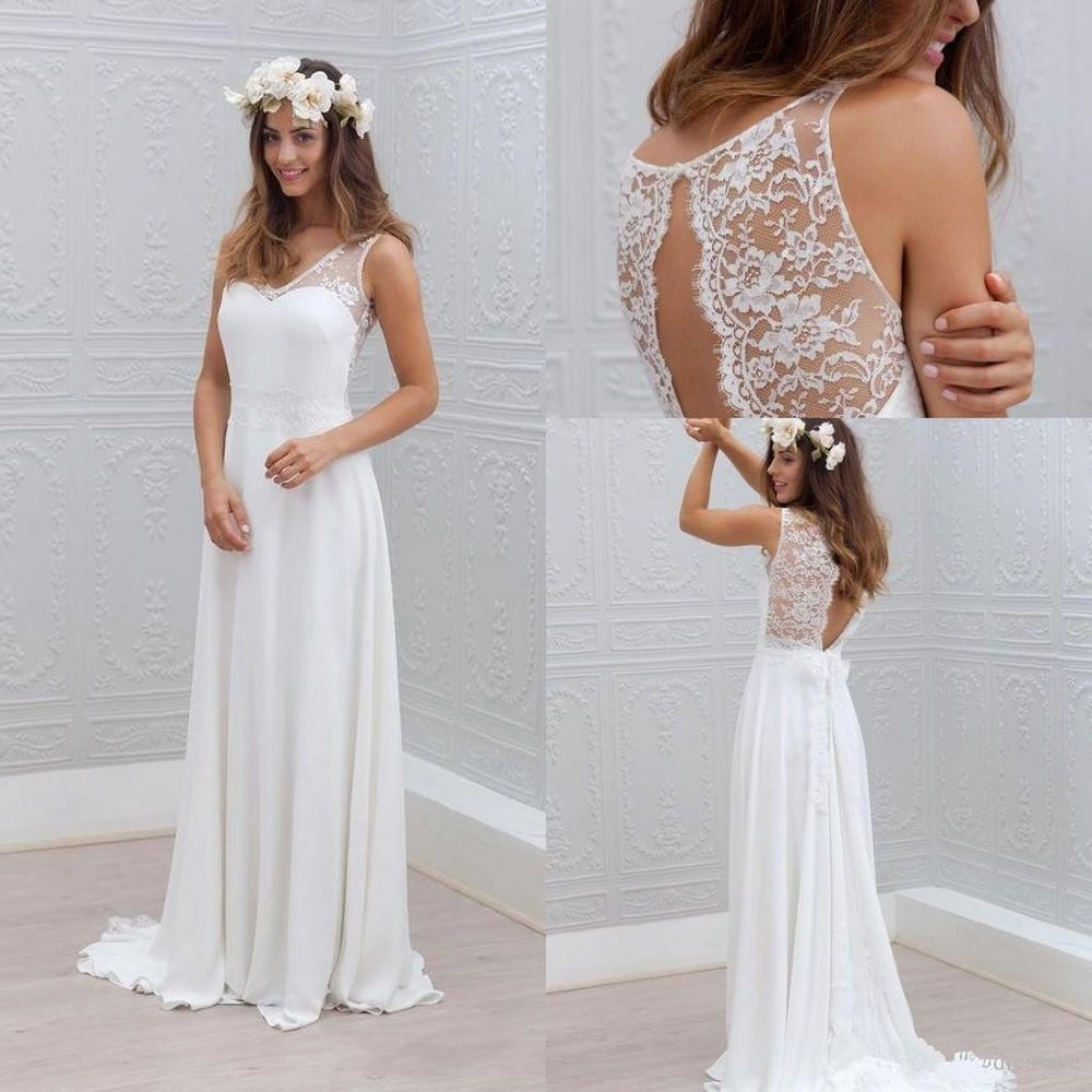 simple bohemian style wedding dress a line white ivory bridal gown custom size ebay. Black Bedroom Furniture Sets. Home Design Ideas