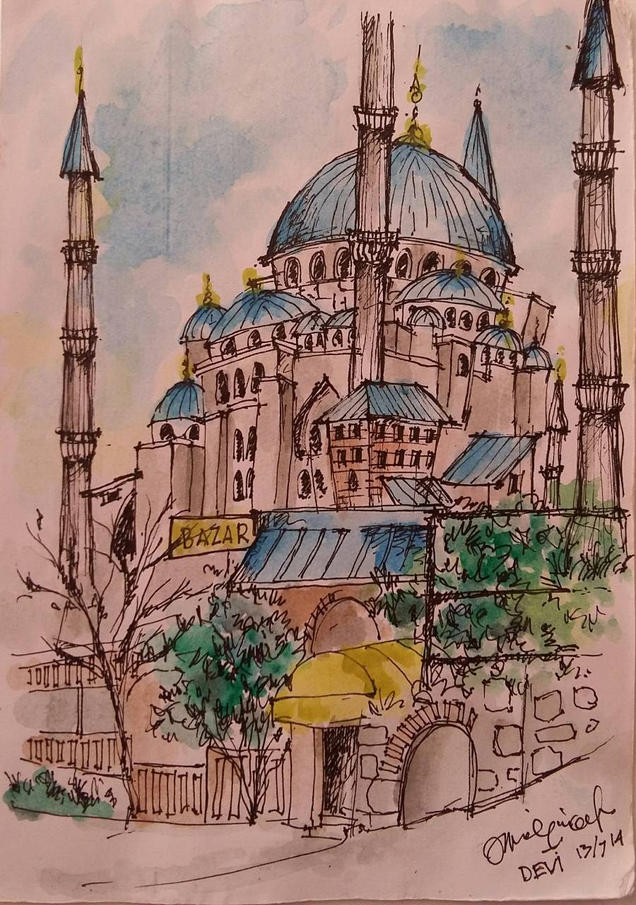The Sultan Ahmed Mosque Or Sultan Ahmet Mosque Turkish Sultan Ahmet Camii Is A Historic Mosque In Istanbul Landscape Sketch Mosque Drawing Colorful Drawings