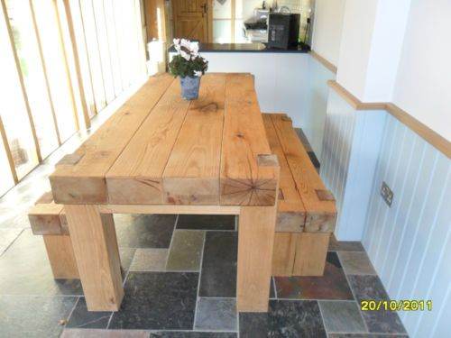 Oak sleeper beam dining table and benches solid chunky for Mobilia kitchen table