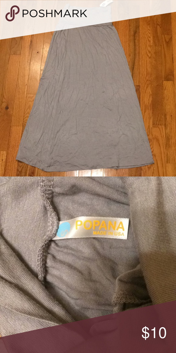 f24c7ba293 Popana Size S Light Gray Maxi Skirt Size S Popana maxi skirt. The tag  doesn't tell, but it is probably rayon or possible polyester material.