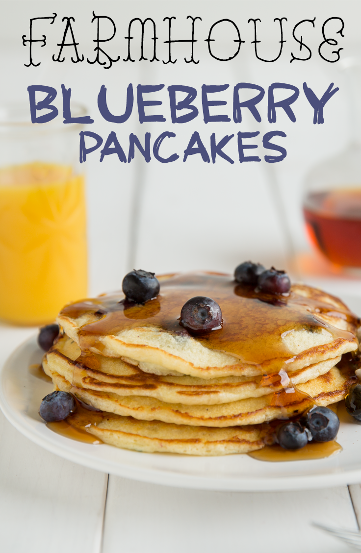 Farmhouse Blueberry Pancakes - From Elsie's farm to your table, in a matter of minutes. #Breakfast #Recipe