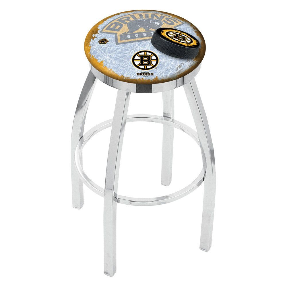 Boston Bruins Swivel Single Rung Bar Stool in Chrome