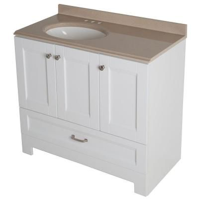 Glacier Bay Ivy Hill 36 in  Vanity in White with Colorpoint Vanity Top in  Cappuccino. Glacier Bay Ivy Hill 36 in  Vanity in White with Colorpoint Vanity