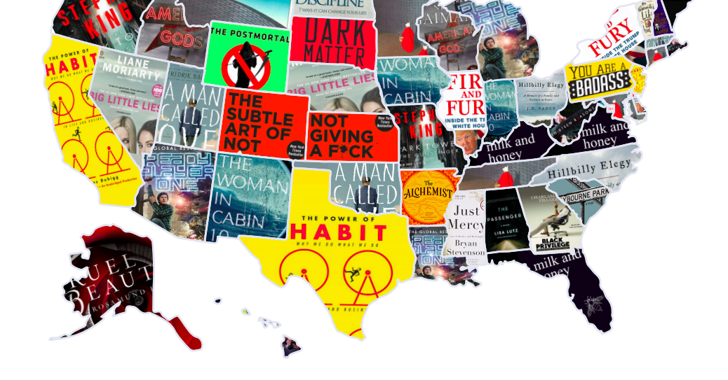Here Is The Most Popular Book In Each State Book Em Pinterest