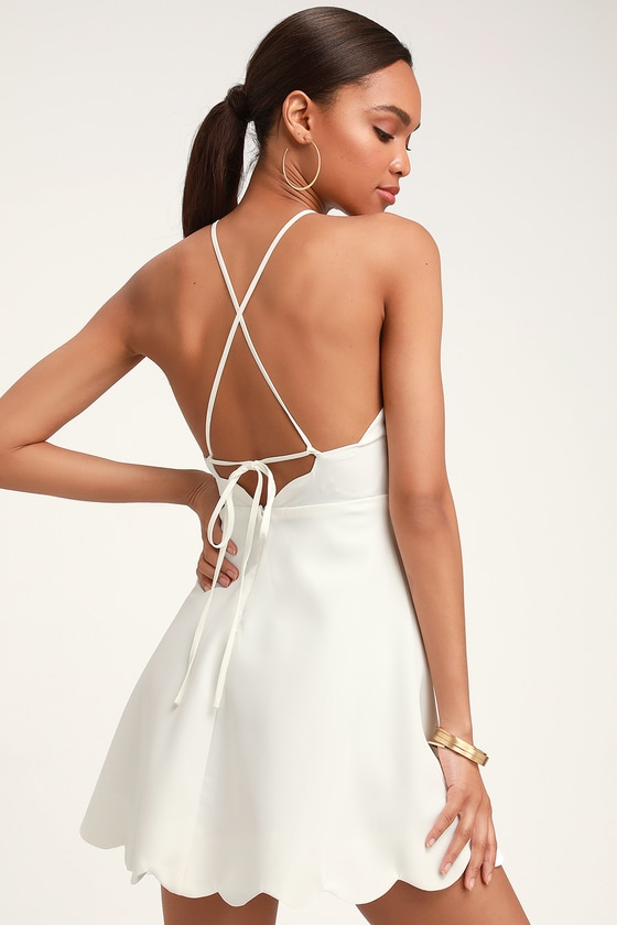 Play On Curves Ivory Backless Dress #shortbacklessdress