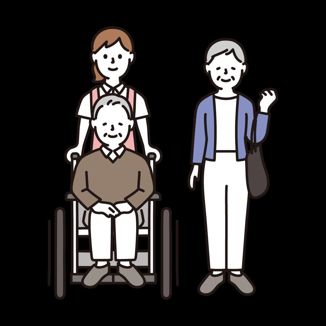 車椅子のおじいさんとおばあさん 介護士のイラスト フリーのイラスト素材集 ソコスト 車椅子 イラスト イラスト イラスト集