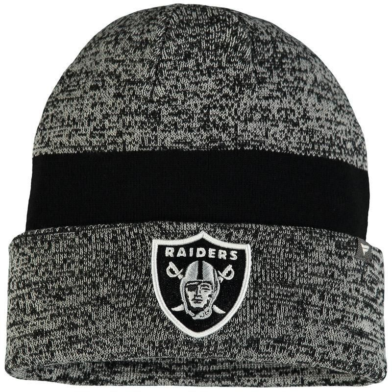 84e9dee75 Fanatics.com - NFL Pro Line by Fanatics Branded Oakland Raiders Pro Line  Static Cuffed Knit Hat - Heathered Gray - AdoreWe.com