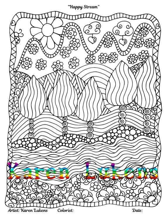 Happy Stream 1 Adult Coloring Book Page Printable Instant