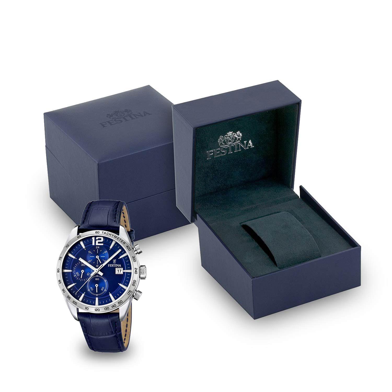 Festina  Chronograph F16760 3 – blaue Herrenuhr mit  Lederarmband und  Tachymeter 4765ea2fb6