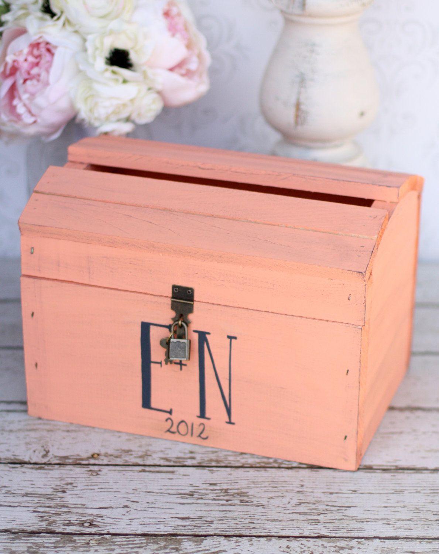 Wedding Shabby Chic Card Box With Lock Vintage Wedding Decor 75 00