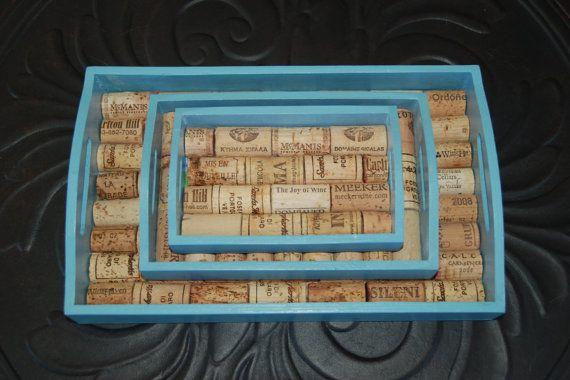 Wine Cork Tray Set of 3 by GulfCoasters on Etsy, $30.00