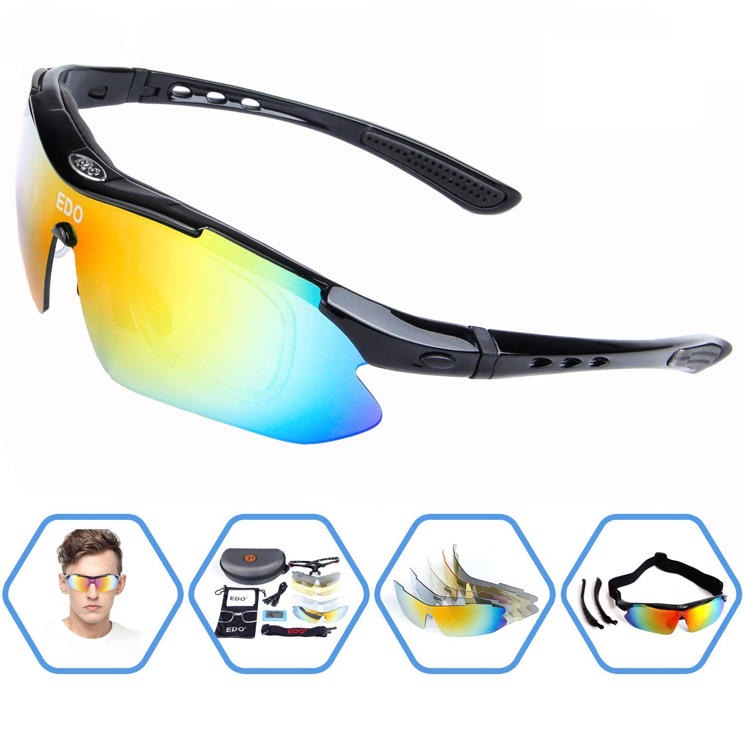 e73fe258fbc EDO Polarized Sports Sunglasses for Men Women Cycling Running Driving  Fishing Golf Baseball Glasses with 5 Interchangeable Lenses Tr90  Unbreakable Frame ...