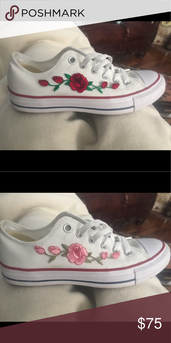 ab16348043fb2d Custom white converse White converse with the option of red or pink rose  patches
