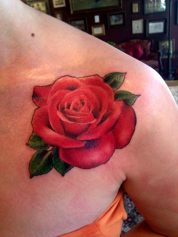 Red Rose Tattoo On Shoulder Tato Tato Bunga Rose Tato Pundak