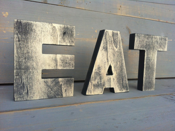 Eat Sign Tea Sign Kitchen Sign Wood Sign 3 Wood Letters 2 Words Vintage Decor Big Letters Big Wood Sign Bar Or Restaurant Decor Kuchenschilder Alte Holzschilder Holzschilder