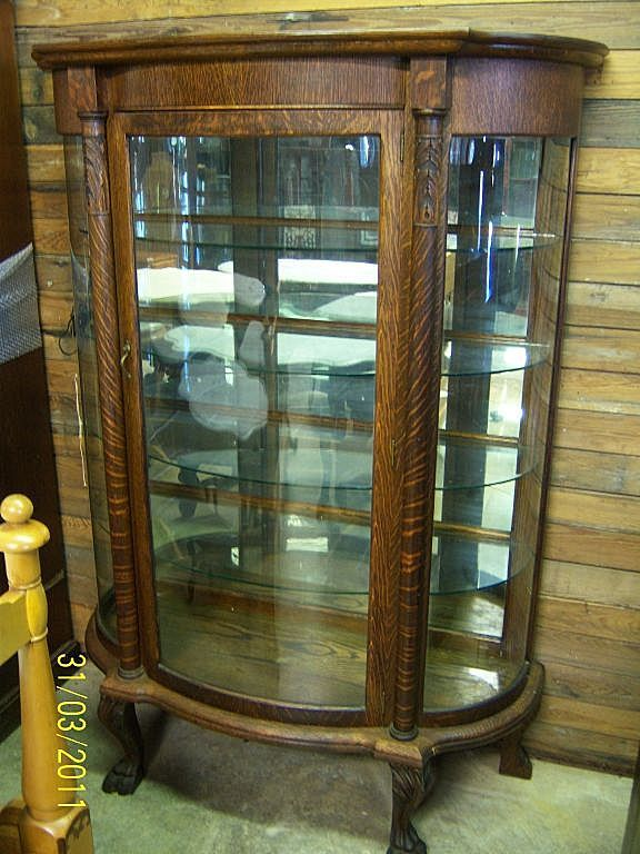 antique china cabinets with curved glass with eagle claws | china cabinet |  Cabinets-Cupboards