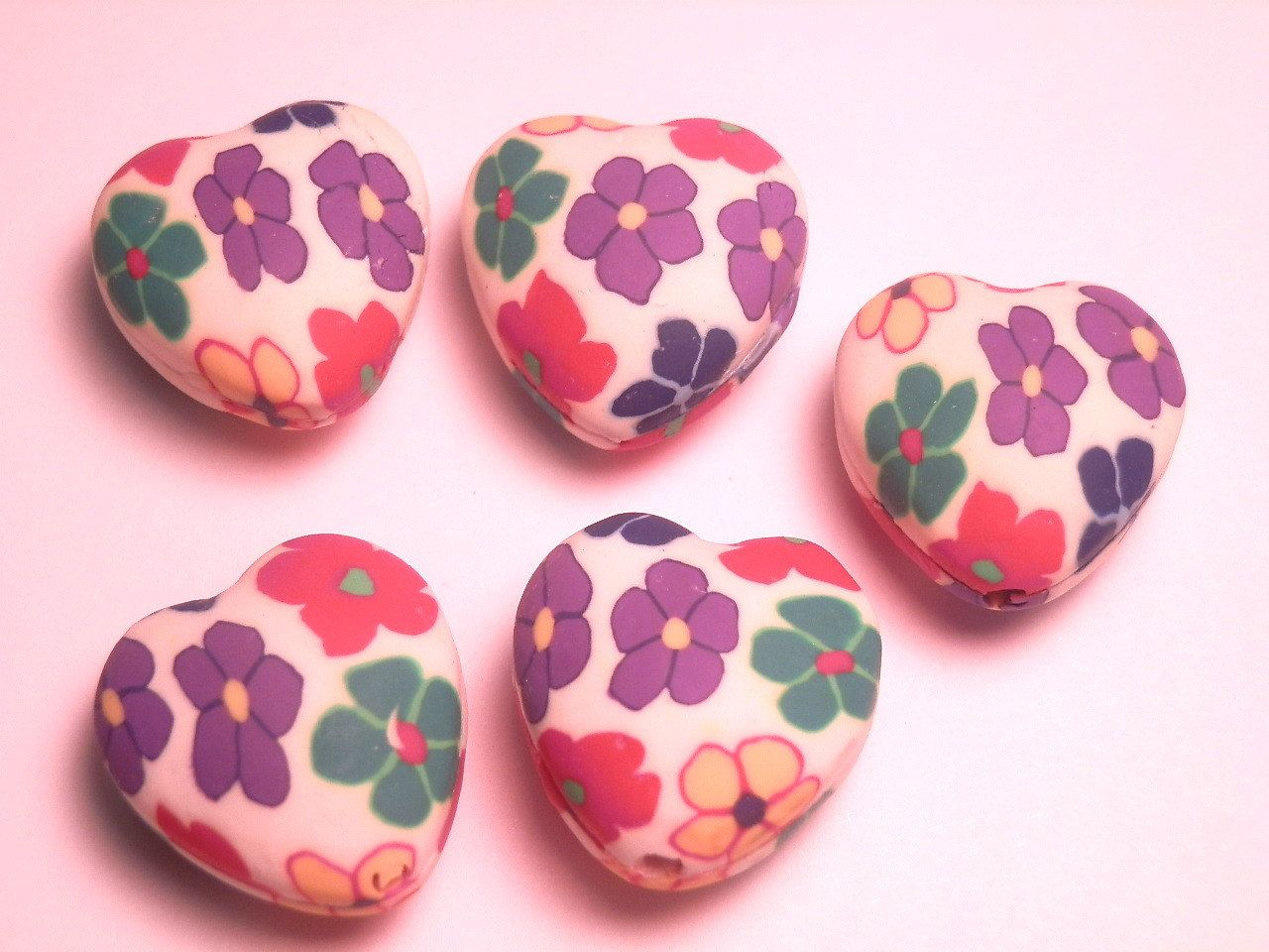 6 Fimo Polymer Clay Flower Fimo Beads 20mm Multicolor flowers  heart 20mm. $4.99, via Etsy.