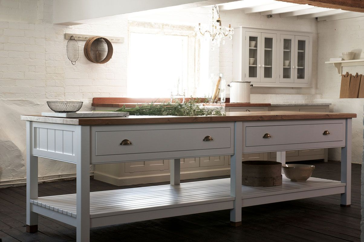 The new Classic Prep Table with rustic oak worktop by deVOL Kitchens