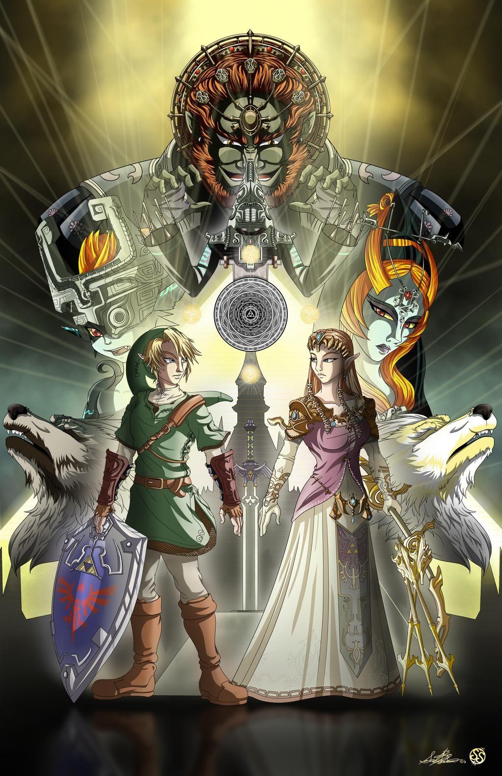 Legend Of Zelda Twilight Princess Artwork Link Princess Zelda Ganondorf Midna Zant Wolves Mir Zelda Twilight Princess Twilight Princess Legend Of Zelda