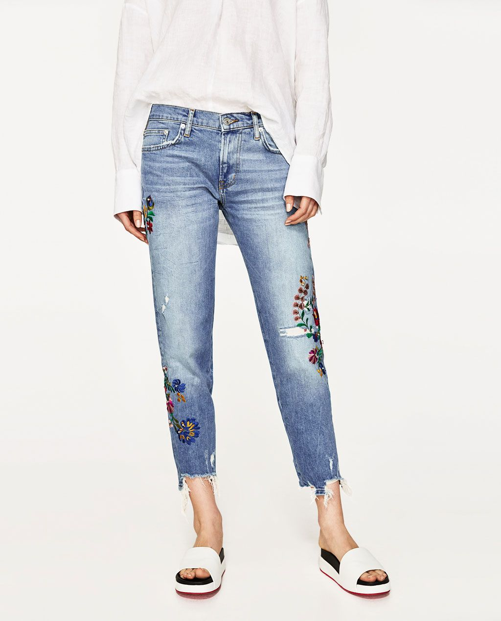93855721 MID-RISE JEANS WITH UNEVEN HEM-View All-JEANS-WOMAN | ZARA United States