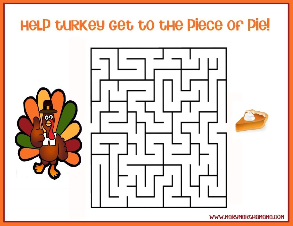 Free Thanksgiving Printables For Kids Thanksgiving Maze