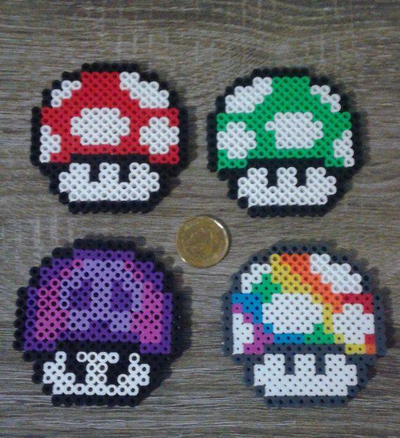 Super Mario Bros Mushroom Perler Beads Motifs Perles Hama Billes De Fer Billes A Fusibles