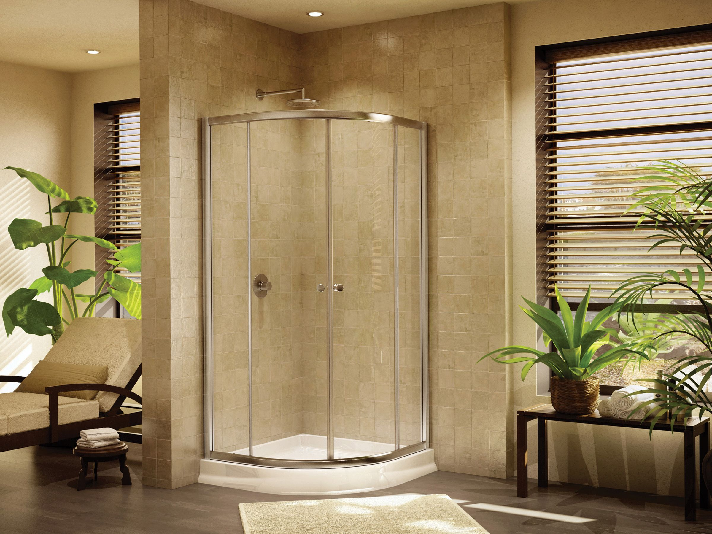 Stylish Semi Frameless Round Sliding Door By Fleurco Banyo Collection Round Shower Doors Shower Sliding Glass Door Shower Stall Enclosures
