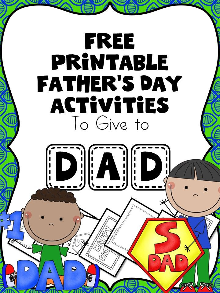Free Fathers Day Worksheets for Kindergarten or Preschool ...