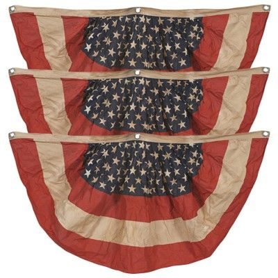 vintage look tea stained american flag bunting adds to your patriotic decorations this american flag bunting from dcor steals has an antique look