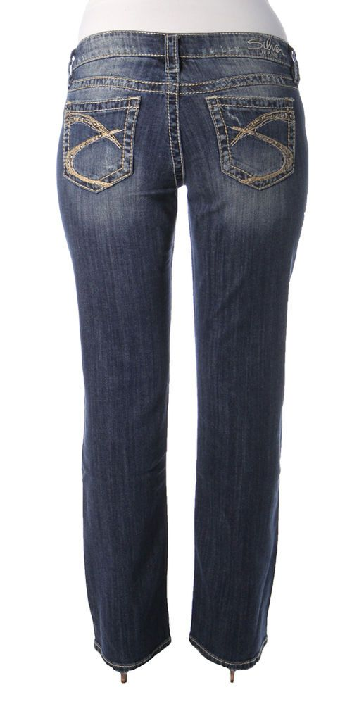 SILVER JEANS SALE Low Lola Distressed Embellished Straight Stretch ...