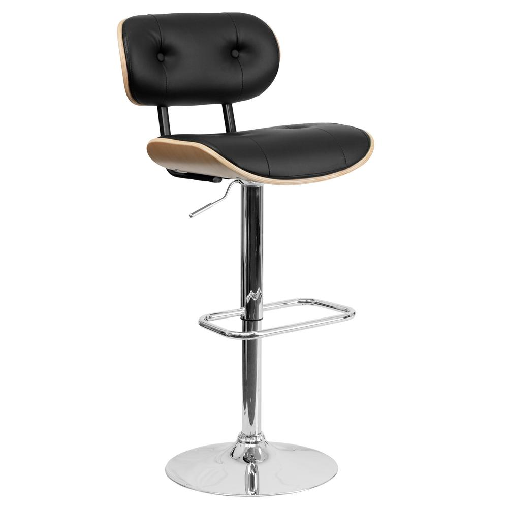Flash Furniture Bentwood 35 In Adjustable Height Beech And Black Cushioned Bar Stool Sd2228beech The Home Depot Vinyl Bar Stool Bar Stools Wood Bar Stools