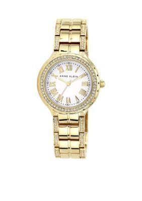 Anne Klein  Womens Gold-Tone Crystal Bezel Watch br