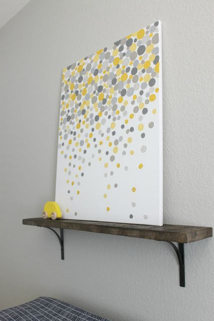 easy diy gray and yellow dot painting may try red and gray for the kids bathroom lose the shelfmaybe a long canvas for in the living room