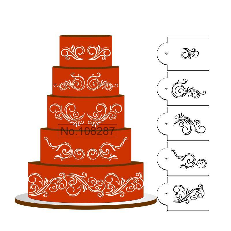 Five Scroll Cake Stencil Set, Cake top Stencil, Flower