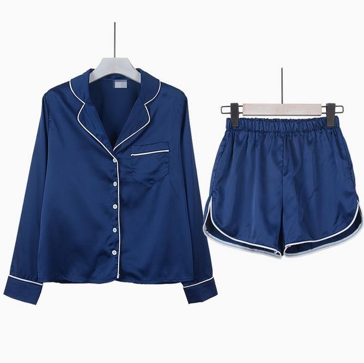 Mode Frauen Pyjama Set Bluse Shirt + Shorts Unterwäsche Nachtwäsche Lässige mode lose langärmeligen anzug