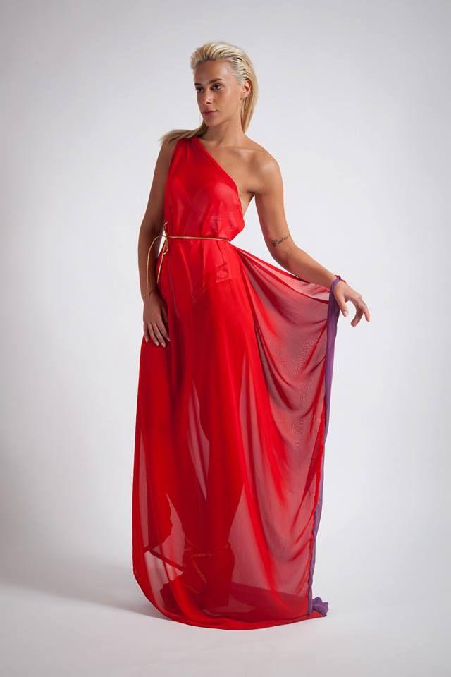 Red greek style dress