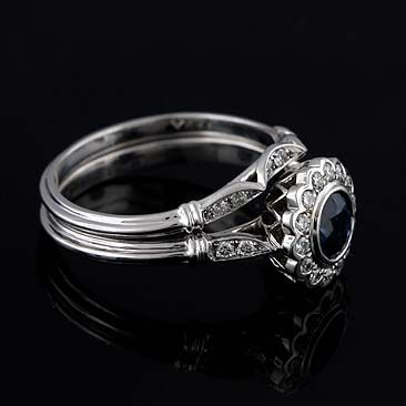 14k White Gold Diamond Shire Halo Art Deco Style Engagement Ring