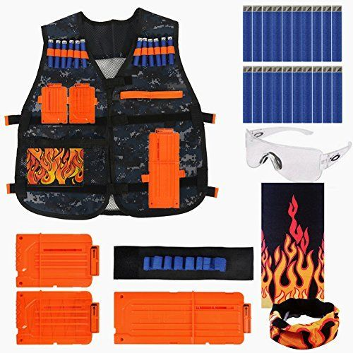 Image is loading Tactical-Vest-Jacket-Pockets-For-Kids-Gun-Dart-