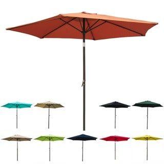 International Caravan Aluminum Tilt And Crank 8 Foot Outdoor Umbrella