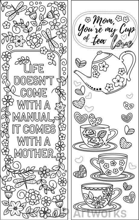 Set Of 8 Coloring Bookmarks For Mom Gift Bookmarks On Mother S Day Gift Markers For Mommy Digital Download Coloring Bookmarks Mom Coloring Pages Coloring Pages Inspirational